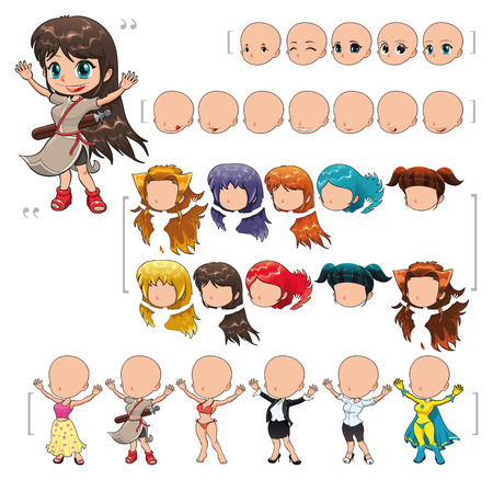 Avatar girl, v illustration, isolated objects. All the elements adapt perfectly each others. Larger character on the right is just an example. 5 eyes, 7 mouths, 10 hair and 6 clothes. Enjoy!!