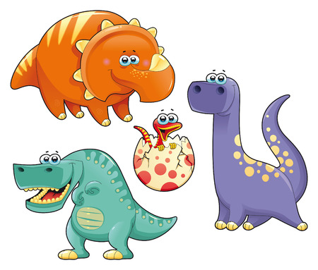 Group of funny dinosaurs. Cartoon and vector isolated characters. Vector