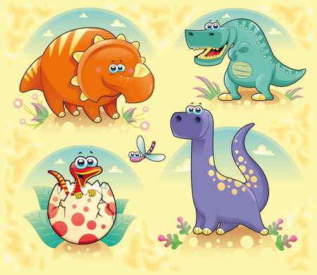 Group of funny dinosaurs. Cartoon and vector isolated characters on background Vector