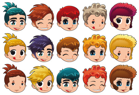 expression facial: Group of faces with different expressions and hair.  Illustration
