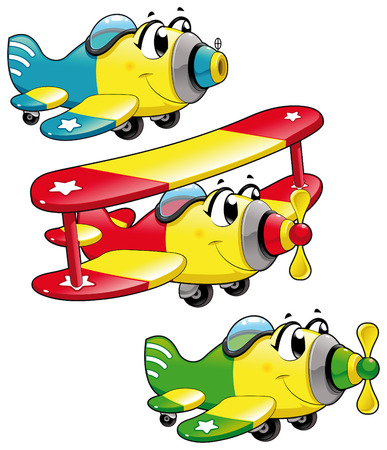 biplane: Cartoon airplanes. Funny vector characters, isolated objects Illustration