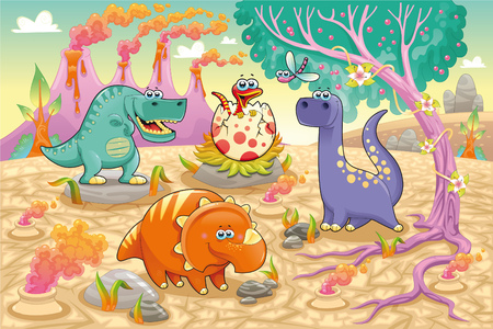 Group of funny dinosaurs in a prehistoric landscape. Cartoon and vector isolated characters on background Vector