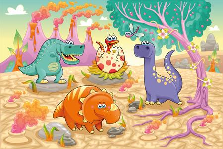 Grupo de dinosaurios graciosos en un paisaje prehist�rico. Dibujos animados y personajes aislados sobre fondo de vectores Foto de archivo - 8950260