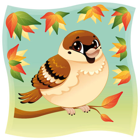 Funny little sparrow on a branch. Cartoon and vector illustration, isolated, objects.
