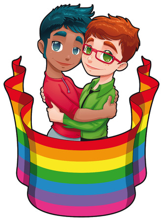 gay couple: Born this way. Funny cartoon and   image for gay pride. Isolated objects. Illustration