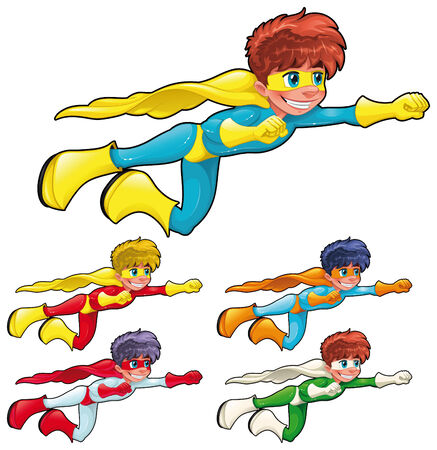 cartoon boy: Young superheroes. Funny cartoon characters. Isolated objects