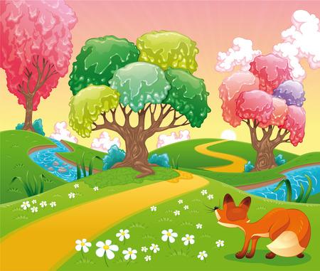 작은 숲: 나무에 폭스. 재미있는 만화와 벡터 장면. 격리 된 개체