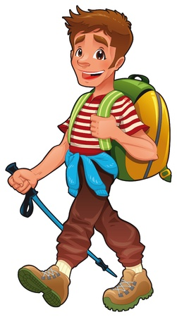 man hiking: Trekking boy. Funny vector and cartoon isolated character.