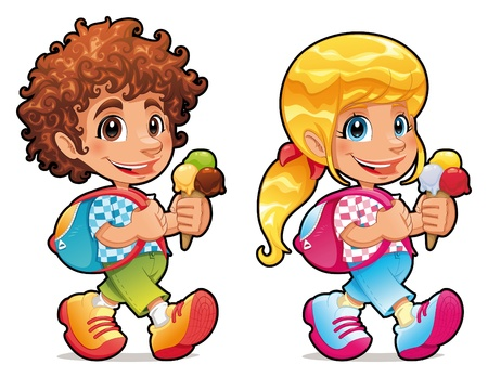 trekking: Boy and girl with ice cream. Funny vector and cartoon isolated characters.