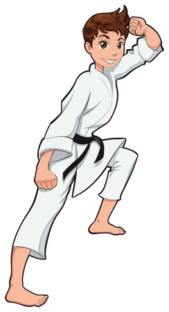 Young boy, Karate Player. Vector cartoon isolated character  Vector