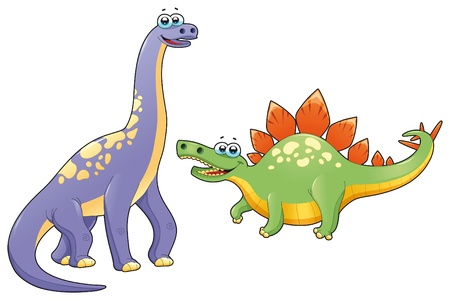 dinosaurio caricatura: Par de dinosaurios graciosos. Dibujos animados y vector aislaron caracteres.