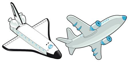 飛行機およびシャトル。ベクトル分離オブジェクト。