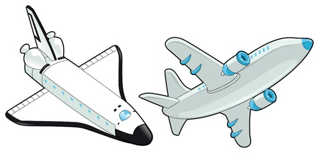 passenger plane: Airplane and shuttle. Vector isolated object.