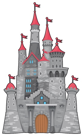 turret: Medieval and fantasy castle. Cartoon vector isolated object
