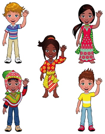 indian happy family: Children in the world. Cartoon characters.
