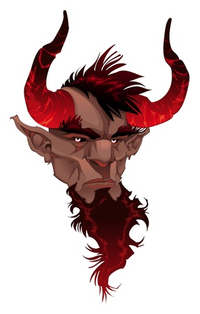 lucifer: Devil face. Demons portrait. Vector isolated illustration