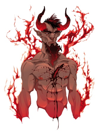 lucifer: Devil. Demons portrait. Vector isolated illustration. 4 levels: Head, Blood, Body and Flames.