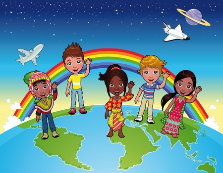 Children on the world. Stock Vector - 9548489