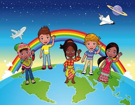 Children on the world.  Vector