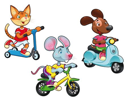 Animals on vehicles. Funny cartoon and vector isolated characters.  Stock Vector - 9695975