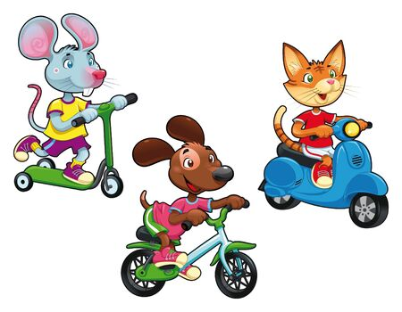 scooters: Animals on vehicles. Funny cartoon and vector isolated characters.