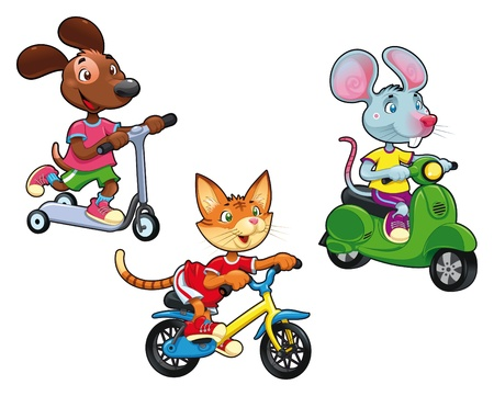 the rat: Animals on vehicles. Funny cartoon and vector isolated characters.