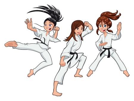judo: Chicas jóvenes, jugadores de Karate. Vector dibujos animados aislados