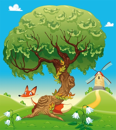 Landscape with fox behind the tree. Funny cartoon and vector illustration, isolated objects.