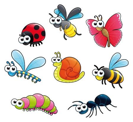 Bugs y un caracol. Funny cartoon y vector aislaron caracteres.  Ilustración de vector