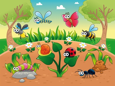 Bugs and a snail with background. Funny cartoon and vector illustration, isolated characters.