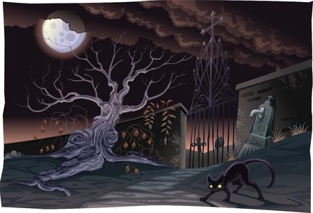 Gatto nero e cimitero nella notte. Horror Scene, personaggi vettore isolato.