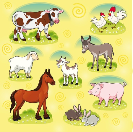 Farm animals. Vector and cartoon isolated characters. Vector