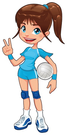 pelota caricatura: Joven voleibolista. Caricatura divertida y vector aislaron car�cter.