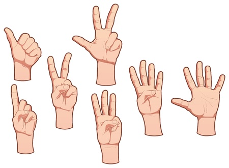 ring finger: Hands and numbers.  Illustration