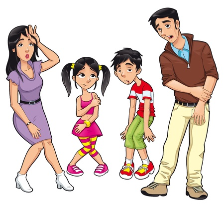 Sick family. Vector cartoon and isolated characters.  Vector