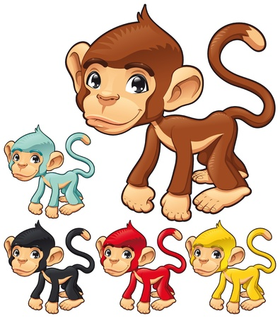 b�b� singe: Singe dr�le. Caricature et caract�re isol� de vecteurs