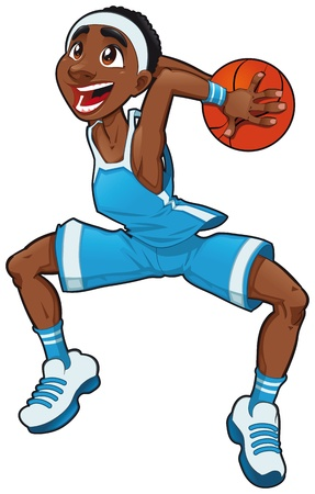 Basketball boy. Funny cartoon and vector isolated character  Vector