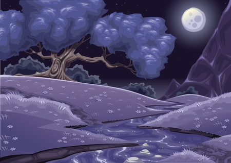 brook: Cartoon nightly landscape with stream. Vector illustration.