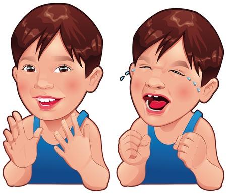 Blij en verdrietig jongen. Cartoon en vector geïsoleerd karakter.