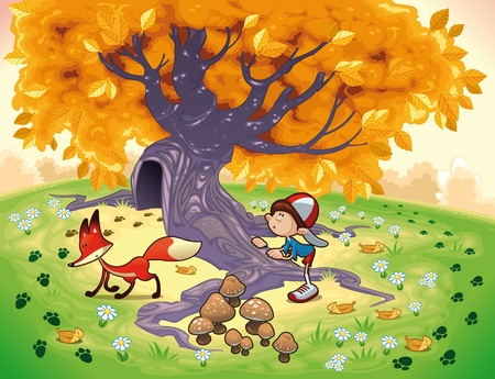 fairy story: Boy and Fox in the wood. Funny cartoon and vector illustration. Illustration