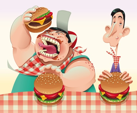 contest: Guys with hamburgers. Cartoon and vector illustration.  Illustration
