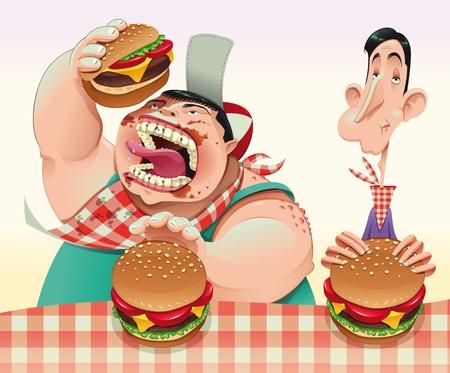 d�vorer: Les gars avec des hamburgers. Dessin anim� et illustration vectorielle.