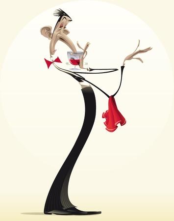 číšník: Funny číšník s červeným vínem. Cartoon a ilustrace.