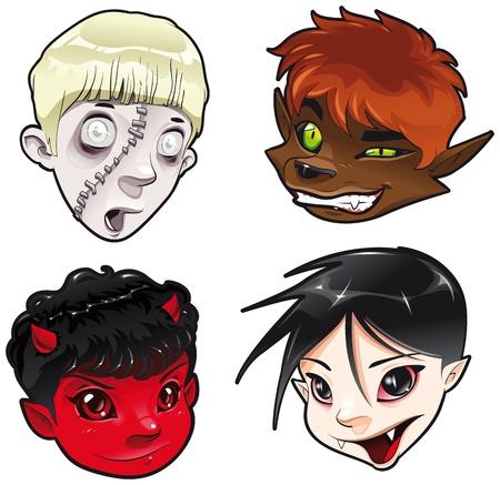 ni�os malos: Zombie, hombre lobo, Diablo y vampiro. Dibujos animados y personajes aislados.