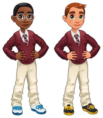 Los estudiantes. Dibujos animados y personajes aislados.