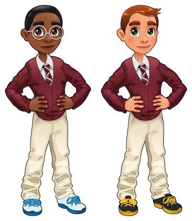 black boy: Students. Cartoon and isolated characters.  Illustration