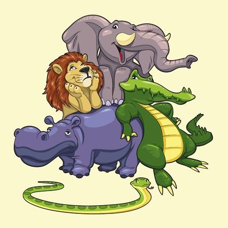 hippopotamus: Grupo de animales de la sabana.