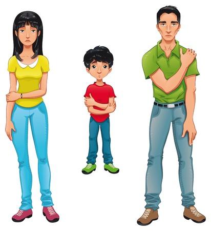 cansancio: Familia enferma. dibujos animados y personajes aislados.  Vectores