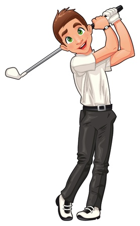 cartoon man: Golf player. Vector cartoon and isolated sport character.