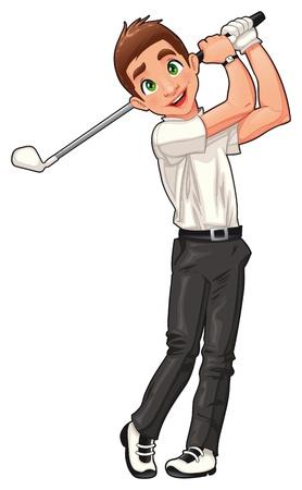 golfclub: Golf-speler. Vector cartoon en geïsoleerde sport karakter.